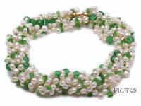 Multi-strand 4-5mm Freshwater Pearl and Green Crystal Beads Necklace FNF745