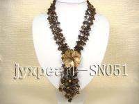 Four-strand Brown Shell Necklace with a Shell Flower Pendant SN051