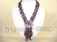 Four-strand Purple Shell Necklace with a Shell Flower Pendant SN052