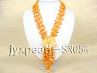 Four-strand Yellow Shell Necklace with a Shell Flower Pendant SN054