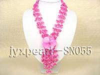 Four-strand Pink Shell Necklace with a Shell Flower Pendant SN055