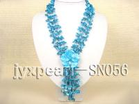 Four-strand Blue Shell Necklace with a Shell Flower Pendant SN056