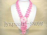 Four-strand Pink Shell Necklace with a Shell Flower Pendant SN059