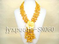 Four-strand Yellow Shell Necklace with a Shell Flower Pendant SN060