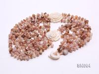 Six-strand Natural Color Shell Necklace Dotted with Carved Shell Flowers SN064