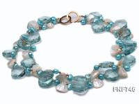 Two-strand Blue Faceted Quartz, Blue Freshwater Pearl, White Shell Pieces and Golden Beads Necklace FNF746
