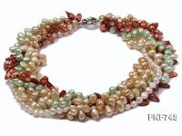 Multi-strand Colorful Cultured Freshwater Pearl Necklace FNF748