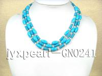 8x15mm blue Cylindrical Multi-Strand Turquoise Necklace GNO241