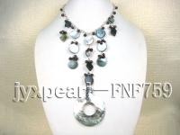 Single-strand Garnet Beads, Freshwater Pearl and Various Shape of Seashell Pieces Necklace FNF759