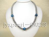 12.5mm blue round lapis lazuli necklace with metal chain GNO259