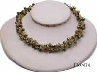 6*9mm grass green side hole freshwater pearl necklace FNO474