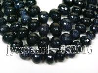 wholesale 13.5mm faceted round Blue Sand Stone strings GSB016