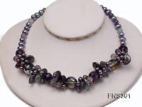 7-8mm black round freshwater pearl with amethyst crystal single strand necklace FNS361