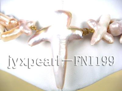 Classic 6x13mm Light-pink Cross-shaped Freshwater Pearl Necklace FNI199 Image 3