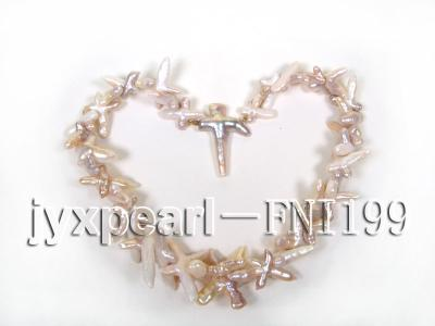 Classic 6x13mm Light-pink Cross-shaped Freshwater Pearl Necklace FNI199 Image 4