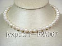 natural 9-10mm white round freshwater pearl necklace with 14k gold coral flower clasp FNA067
