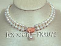 2 rows natural white freshwater pearl necklace with 14k gold coral flower clasp FNA072