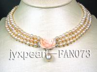 3 rows natural pink freshwater pearl necklace with 14k gold coral flower clasp FNA073