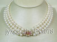 AAAAA-grade three rows natural white seawater pearl  necklace 14k gold clasp  FNA078