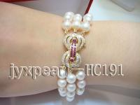 3 rows natural white round seawater pearl bracelet with diamond clasp HC191