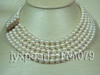 Five-strand 7-7.5mm AAAAA White Round Seawater Pearl Necklace FNA079