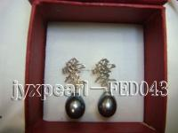 7.5x10mm black oval freshwater pearl post earring FED043