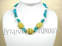 6x10mm blue irregular turquoise and yellow carved turquoise necklace TQN067