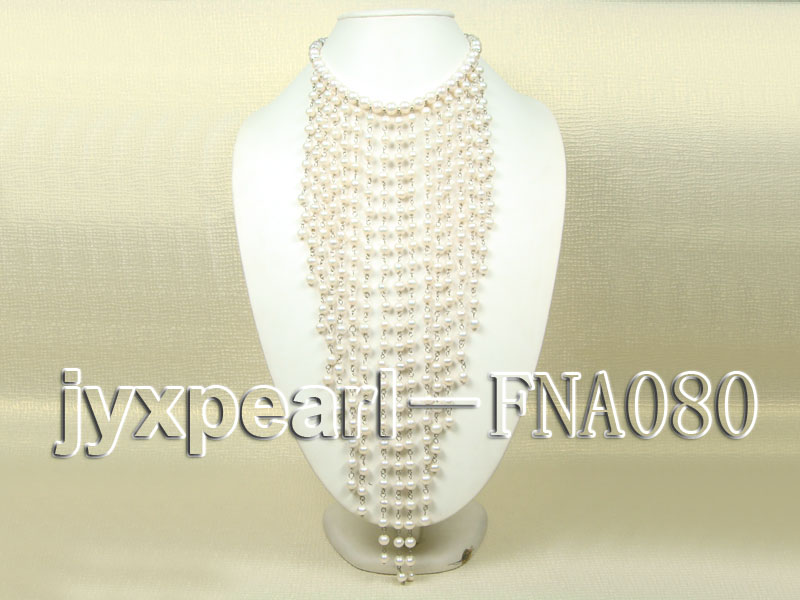 White Freshwater Pearl Necklace Dotted with Zircons big Image 1