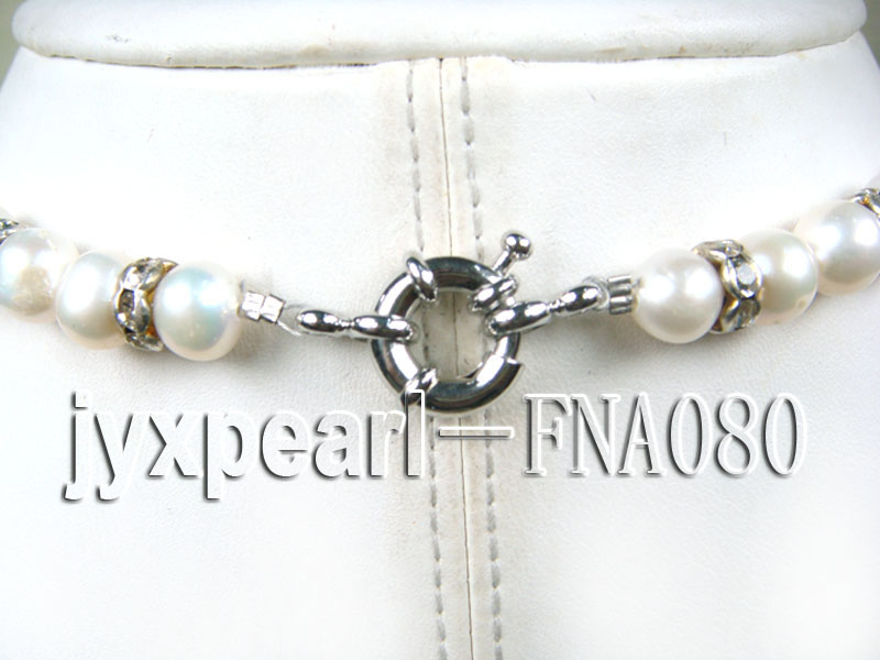 natural white freshwater pearl necklace with dangle pearls big Image 3