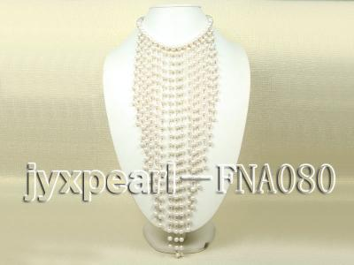 White Freshwater Pearl Necklace Dotted with Zircons FNA080 Image 1
