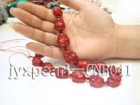 16x17-19x20mm red Buddha-head-shaped coral necklace CNB041