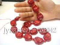 19.5x20-25x30mm red Buddha-head-shaped coral necklace CNB042