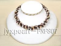 Three-strand White and Pink Oval Freshwater Pearl and Garnet Chips Necklace FNF807