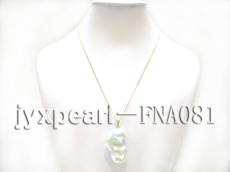14k Gold Chain with a baroque Freshwater Pearl Pendant Necklace big Image 1
