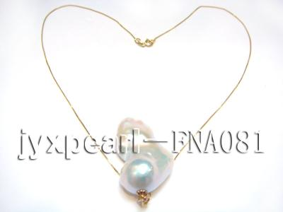 natural white with gold overtone irregular freshwater pearl pendant with 14k gold chain FNA081 Image 3