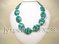 25x30mm Green Disc-Shaped Gemstone Necklace CFN238