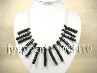 natural 6-7mm white round freshwater pearl with black coral sticks single strand necklace FNS410