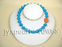 14mm blue round Turquoise Necklace TQN068