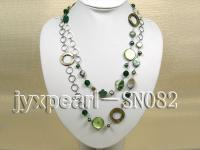 Two-row Shell, Freshwater Pearl and Crystal Necklace SN082