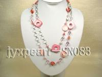 Two-row Shell, Freshwater Pearl and Crystal Necklace SN083