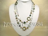 Two-row Shell, Freshwater Pearl and Crystal Necklace SN084