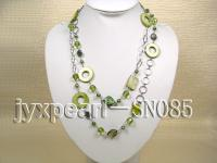 Two-row Shell, Freshwater Pearl and Crystal Necklace SN085