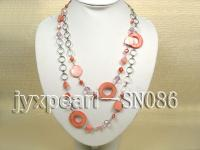 Two-row Shell, Freshwater Pearl and Crystal Necklace SN086