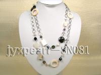 Two-row Shell, Freshwater Pearl and Crystal Necklace SN081