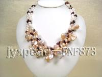 Three-strand White Freshwater Pearl, Pink Button Pearl and Garnet Chips Necklace FNF873