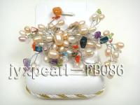 Flower-shaped Brooch Pink Rice-shaped Freshwater Pearls and Various Semi-precious Stone FB086