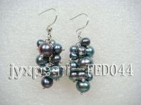 Grape-shaped Peacock Green Cultured Freshwater Pearl Earrings FED044