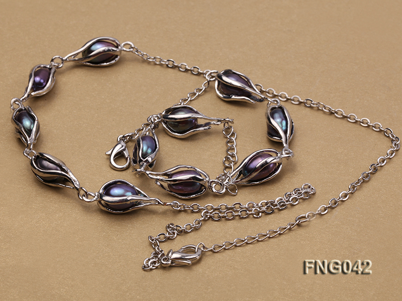 Gold-plated Metal Chain Necklace, Bracelet and Earrings Set with Freshwater Pearl big Image 3