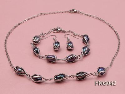 Gold-plated Metal Chain Necklace, Bracelet and Earrings Set with Freshwater Pearl FNG042 Image 1