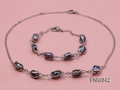 Gold-plated Metal Chain Necklace, Bracelet and Earrings Set with Freshwater Pearl FNG042 Image 2